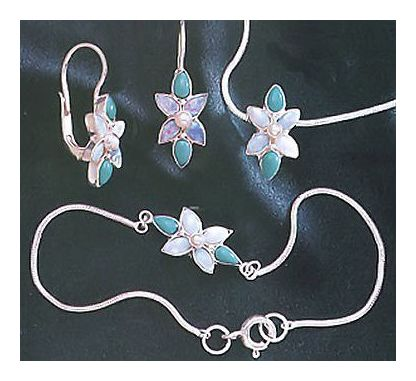 Set of Flora Turquoise, Opal & Pearl Earrings, Necklace, Bracelet