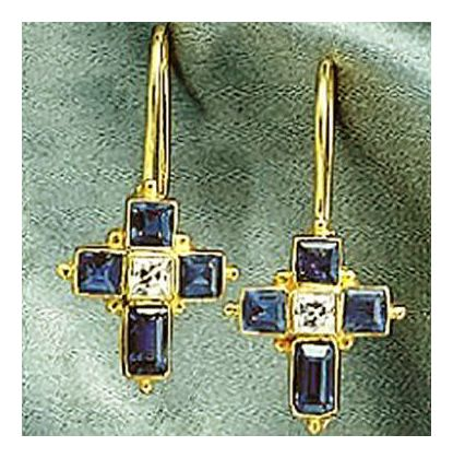 Galilee Iolite Cross Earrings