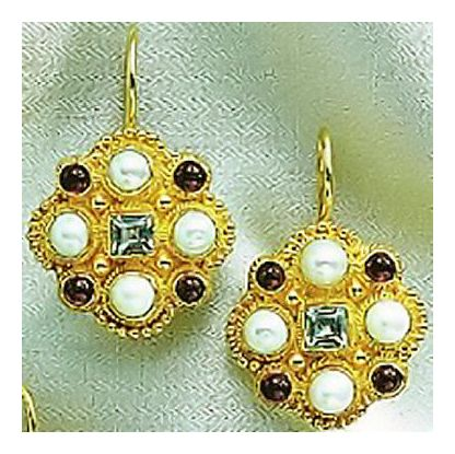 Lord Montalban Blue Topaz, Garnet, & Pearl Earrings