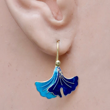 Vintage Shashi Gingko Leaf Blue Gold-Vermeil Earrings