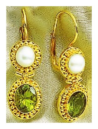 Priscilla Penworthy Peridot & Pearl Earrings
