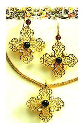 Set of Byzantine Cross Earrings and Necklace
