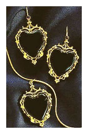 Set of Onyx Sweetheart Earrings & Necklace