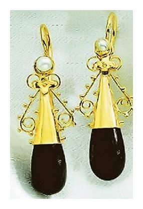 Salome Onyx Earrings-Screw Backs