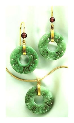 Set of Indian Jade Earrings and Necklace