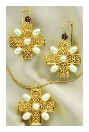 Set of Gloucester Pearl Cross Earrings & Necklace