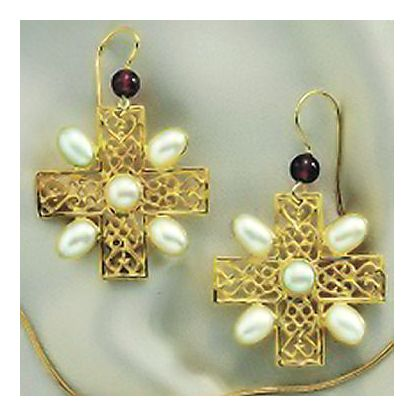 Gloucester Pearl Cross Earrings
