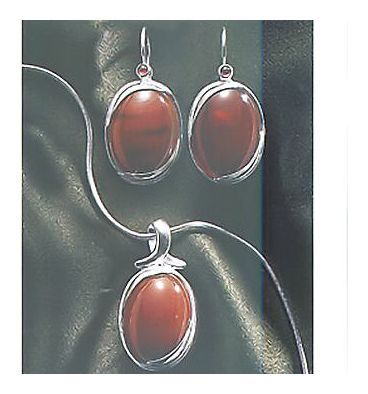 Set of Autumn Light Carnelian Earrings & Necklace