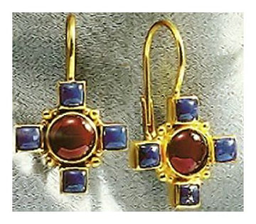 Domenica of Lombardy Garnet and Lapis Earrings