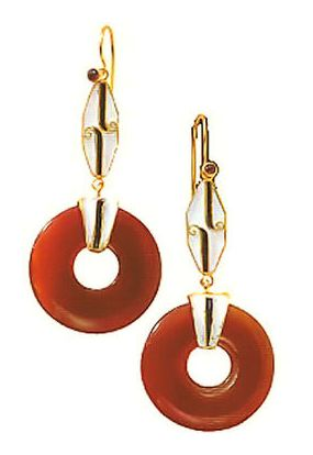 Carnelian Deco Earrings
