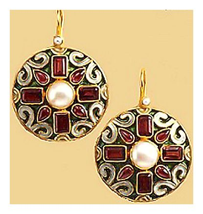 Garnet & Pearl Carousel Earrings