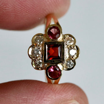 St. Nicholas 14k Gold Garnet and Diamond Ring