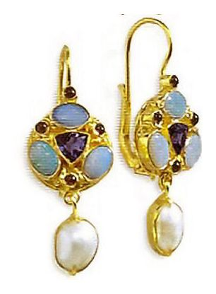 Lady Anne Opal, Iolite, Garnet & Pearl Earrings