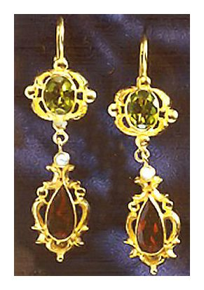 Evangeline Earnshaw Peridot Victorian Earrings Antique Reproduction Jewelry