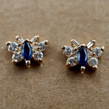Diamond and Sapphire Butterfly Gold Earrings