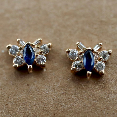 Diamond & Sapphire Butterfly Gold Earrings