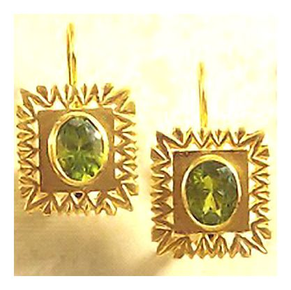 Framed Peridot Deco Earrings
