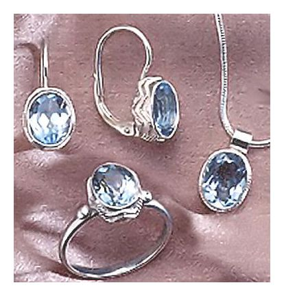 Set of Sea Of Marmara Blue Topaz Earrings, Necklace, & Ring