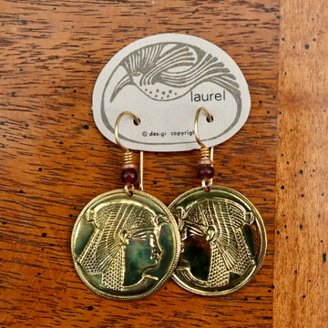 Vintage Laurel Burch Isis Rounds Gold-Plate Earrings