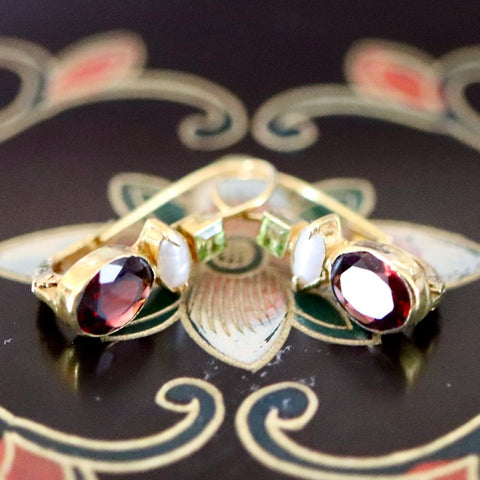 14k Westminster Garnet, Pearl and Peridot Earrings