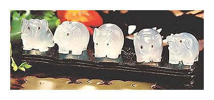Five Agate Elephants