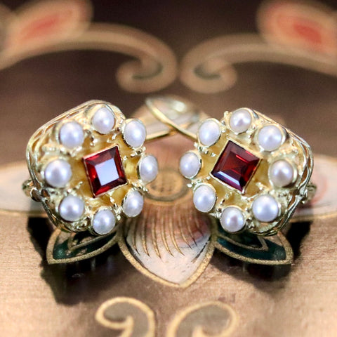 14k Rose Red Garnet and Pearl Earrings