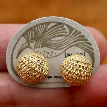 Vintage Laurel Inc.  Basket Weave Round Gold-Plate Silver Earrings
