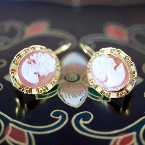 14k Elizabeth Barrett Cameo Earrings