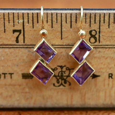 Double Diamond Amethyst Earrings