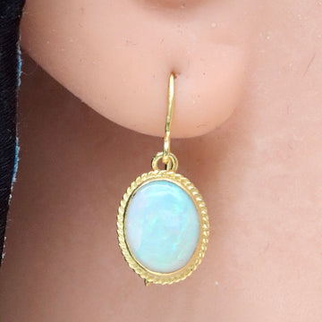14k Classic Cabochon Opal Earrings