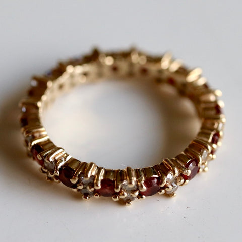 14k Diamond and Garnet Eternity Band