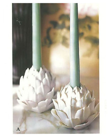 Porcelain Artichoke Candle Holders