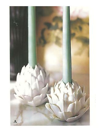 Pair of Porcelain Artichoke Candle Holders