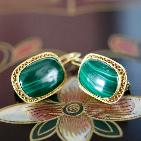 14k Manchester Malachite Earrings