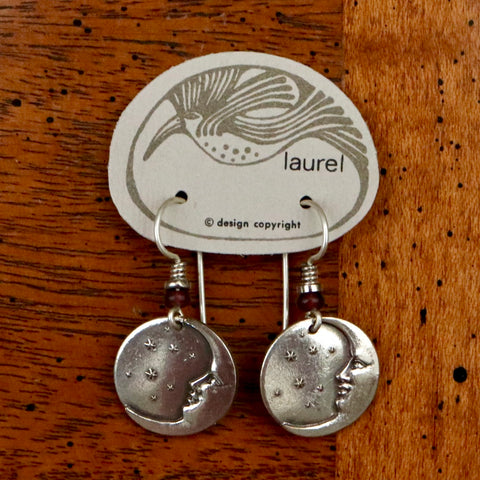 Vintage Laurel Burch Extra Small Moonface Silver-Plate Earrings