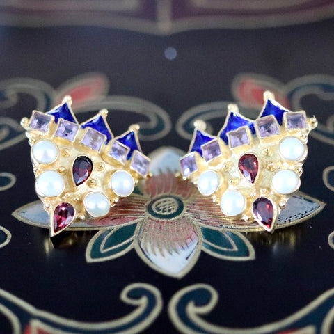 Peter The Great Earrings: Amethyst, Garnet, Pearl and 14k Gold