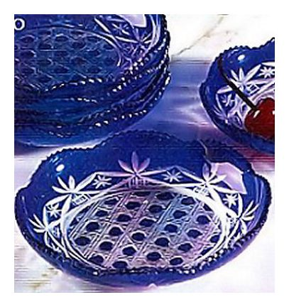 1 Dish of Blue Fields Glass Ware