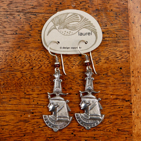 Vintage Laurel Burch Isis Dangle Silver-Plate Earrings