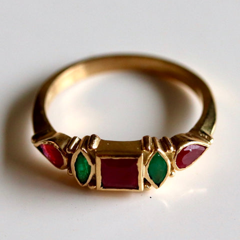 14k Garnet, Ruby & Emerald Ring