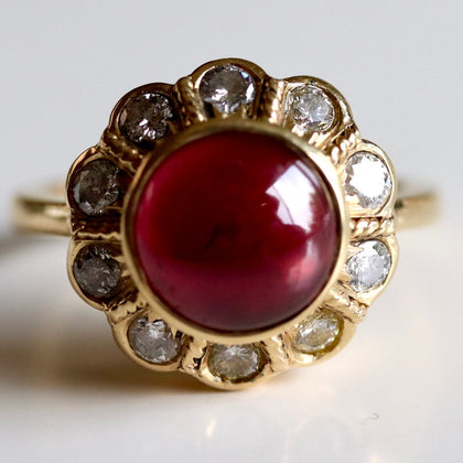 Jane Seymour Ring: Cabochon Garnet & Diamonds in 14k Gold