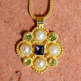 Lady Brighten Pearl, Iolite, & Peridot Necklace