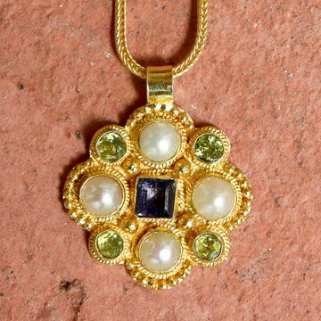 Lady Brighten Pearl, Iolite and Peridot Necklace