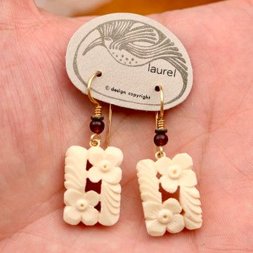 Vintage Laurel Burch Floral Bone Gold-Plate Dangles