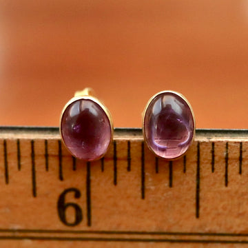 Deco Amethyst Stud Earrings