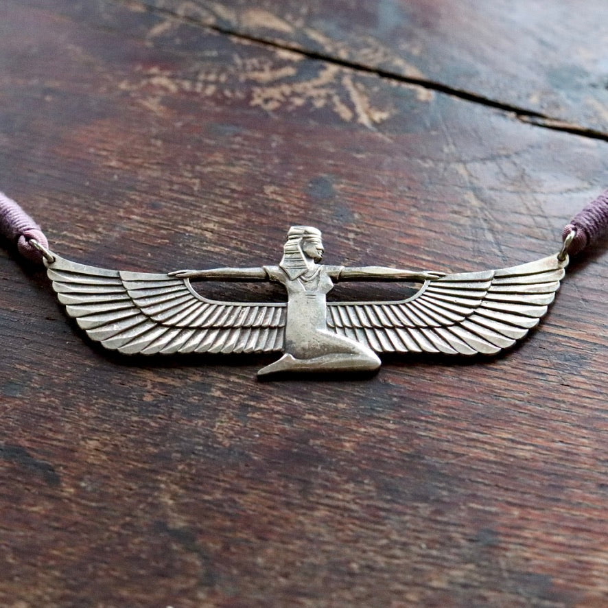 Vintage Laurel Burch Isis Egyptian Revival Necklace on Mauve Cord