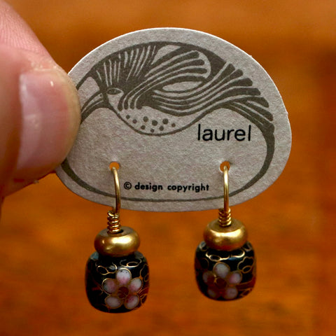 Vintage Laurel Burch Chinese Bead Gold-Vermeil Earrings