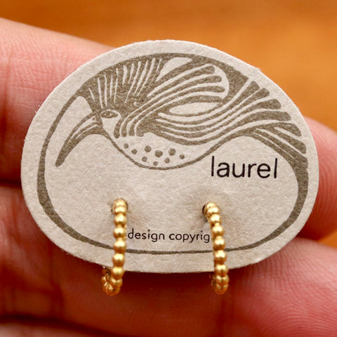Vintage Laurel Burch Granulated Hoop Gold-Plate Earrings