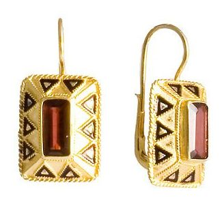 Anne Boleyn 14k Gold and Garnet Earrings