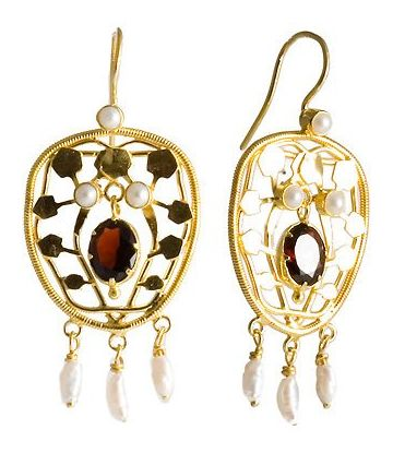 Belle Epoque Garnet & Pearl Earrings Sterling Silver jewelry classic