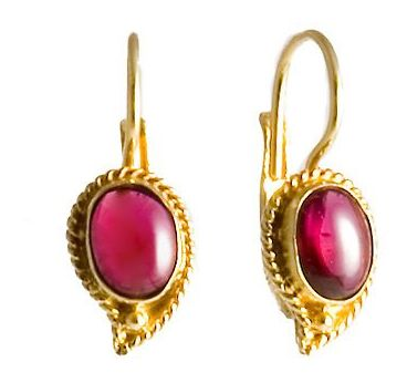 Bengal garnet silver earrings gold plated over sterling silver jeweelry